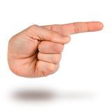 手尖 指向手指象的手 免版税图库摄影