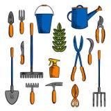 手工具剪影为种田和从事园艺的 库存照片
