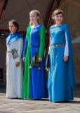 手工制造中世纪的礼服的妇女在现场 库存照片
