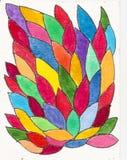 手工制造五颜六色的叶子样式背景 库存图片