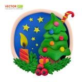 手工制造传染媒介雕塑黏土圆的贺卡圣诞节和新年好 免版税库存照片