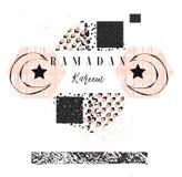 手工制造传染媒介摘要徒手画构造了与赖买丹月Kareem书法行情的伊斯兰教的贺卡模板,月亮 向量例证