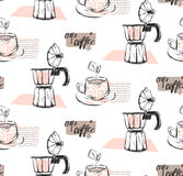 手工制造传染媒介摘要构造了咖啡概念的无缝的样式与杯子、牛奶,喷泉咖啡和手写现代的 向量例证