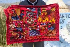 手工制造和五颜六色的秘鲁毯子在库斯科和普诺之间的Abra la Raya卖了 库存图片