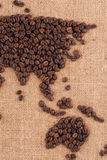 手工制造咖啡地图 免版税库存图片