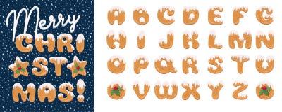 手工制造圣诞节姜饼曲奇饼字母表集合 动画片样式字体 艺术设计信件 欢乐在上写字的问候 向量例证