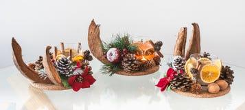 手工制造圣诞节蜡烛台 图库摄影