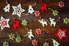 手工制造圣诞节装饰品的汇集 免版税库存照片