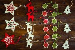 手工制造圣诞节装饰品的汇集 图库摄影