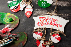 手工制造圣诞节装饰 免版税库存照片