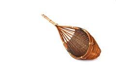 手工制造在白色背景的竹帆布篮孤立 库存图片