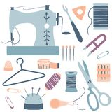 手工制造成套工具象集合:缝纫机,剪刀,螺纹,needles 皇族释放例证