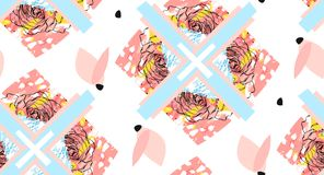 手工制造摘要构造了时髦创造性的在白色背景与花卉主题的拼贴画无缝的样式隔绝的与 图库摄影