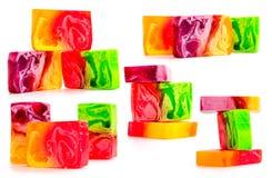 手工制造明亮的肥皂片断  在一个空白背景的特写镜头 免版税库存图片