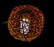 手工制造木头被编织的灯笼 库存图片