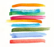手工制造水彩五颜六色的刷子冲程 免版税库存照片