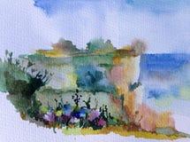 手工制造水彩五颜六色的明亮的织地不很细抽象的背景 地中海横向 小山绘画在沿海的 免版税图库摄影