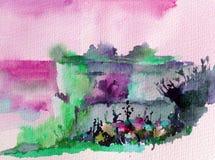 手工制造水彩五颜六色的明亮的织地不很细抽象的背景 地中海横向 小山绘画在沿海的 免版税库存照片