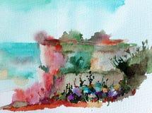 手工制造水彩五颜六色的明亮的织地不很细抽象的背景 地中海横向 小山绘画在沿海的 库存照片