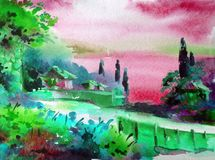 手工制造水彩五颜六色的明亮的织地不很细抽象的背景 地中海横向 沿海绘画  库存图片
