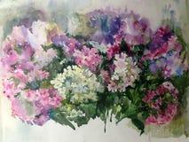 手工制造水彩五颜六色的明亮的织地不很细抽象的背景 蝴蝶下落花卉花重点模式黄色 福禄考花花束在庭院里 免版税库存图片