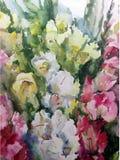 手工制造水彩五颜六色的明亮的织地不很细抽象的背景 蝴蝶下落花卉花重点模式黄色 剑兰花花束在庭院里 免版税库存图片