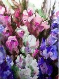 手工制造水彩五颜六色的明亮的织地不很细抽象的背景 蝴蝶下落花卉花重点模式黄色 剑兰花花束在庭院里 库存图片