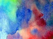 手工制造水彩抽象明亮的五颜六色的质地的背景 水下的世界绘画  现代海景 图库摄影