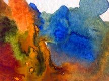 手工制造水彩抽象明亮的五颜六色的质地的背景 洞水下的海洋绘画  海景 免版税图库摄影