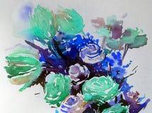 手工制造水彩抽象明亮的五颜六色的质地的背景 花心脏花束绘画  免版税库存照片