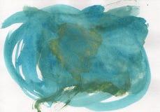 手工制造水彩蓝色抽象背景浪花 免版税库存照片