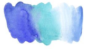 手工制造水彩蓝色抽象背景浪花 库存图片