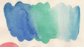 手工制造水彩蓝色抽象背景浪花 库存照片