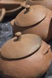 手工制造泥罐-巴西东北文化 库存图片