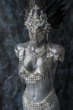 手工制造片断、银色首饰服装有链子的和硬币 我们 库存照片
