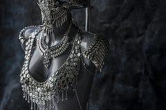 手工制造片断、银色首饰服装有链子的和硬币 我们 库存图片