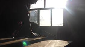 手工制造的木匠和工艺概念慢动作录影生活方式 木匠在车间锯的阳光下的锯一棵树 股票视频