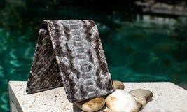 手工制造皮革钱包,钱包异乎寻常和豪华  色的多 皮革工艺 在一个石瓦片上有与羽毛的背景 库存图片
