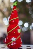 手工制造红色圣诞树 免版税库存照片