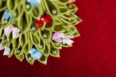 手工制造织品圣诞树 免版税库存图片