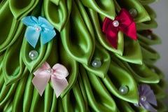 手工制造织品圣诞树 库存照片