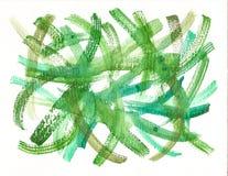 手工制造绿色水彩刷子冲程背景 免版税图库摄影