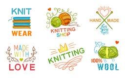 手工制造编织商标集合 向量例证