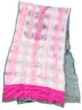 手工制造缝合绿色和桃红色蜡染布丝绸围巾 库存图片