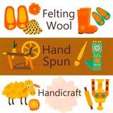 手工制造羊毛产品五颜六色的网横幅 皇族释放例证