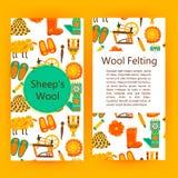 手工制造羊毛产品小册子模板 向量例证