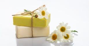 手工制造肥皂酒吧和春黄菊在白色背景 库存图片