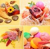 手工制造自然肥皂、壳和小卵石 库存照片
