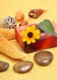 手工制造自然肥皂、壳和小卵石 免版税库存图片