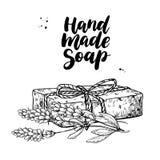 手工制造自然肥皂 导航有机化妆用品的手拉的例证与淡紫色医疗花的 向量例证